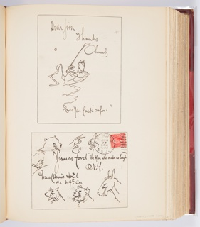 Above, illustrated note with figure of a golfer with wavy legs. Below, illustrated envelope with a bird and heads of a bear, rabbits, dogs, and a donkey.