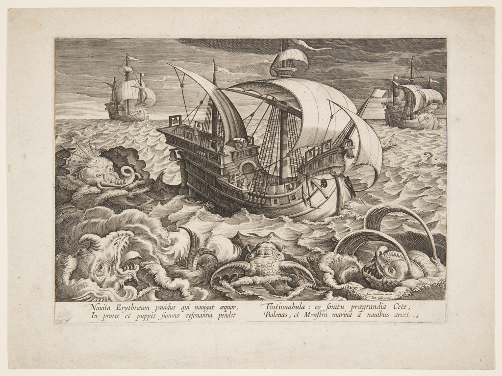 Print, Three ships surrounded by monsters