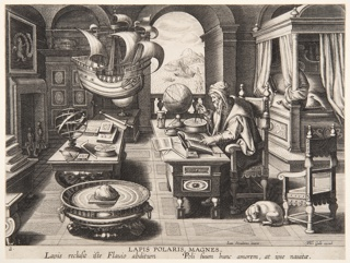An old man, identified as the legendary Flavio Amalfitano, seated at his desk using a compass and reading a book; tools, books, and instruments are arranged around the richly furnished room; a dog is at his feet. A model of a ship hangs above and in front of him.