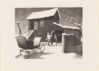 Snow scene. A farmer leads a harnessed horse from a barn toward a sleigh.