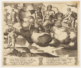 Among clouds, Jupiter sits at center, with an eagle before him, Hermes at left with winged helmet and staff. Venus arrives from right on a chariot, preceded by doves. Behind them, to the left, Venus converses with Hermes. Hermes in a hilly landscape at lower left. Below, a narrative inscription.