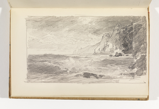 Dark, rough sea breaking in foreground, cliffs behind at right.