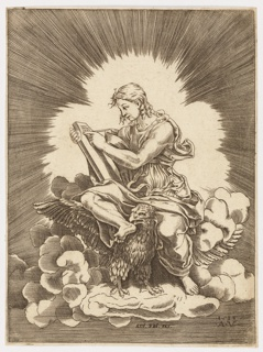 Saint John, sitting within a penumbra of light, on the back of a winged eagle atop a cloud, writing on a tablet