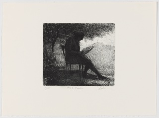 Figure reading in the park with his head bowed. He sits in a chair and extends one leg while the other bends to rest just beneat the edge of the chair. The figure's profile can be discerned, though he is largely shrouded in darkness. He appears to be under a tree that extends from the left of the image across the entire top of the image. The right side of the image is lighter.