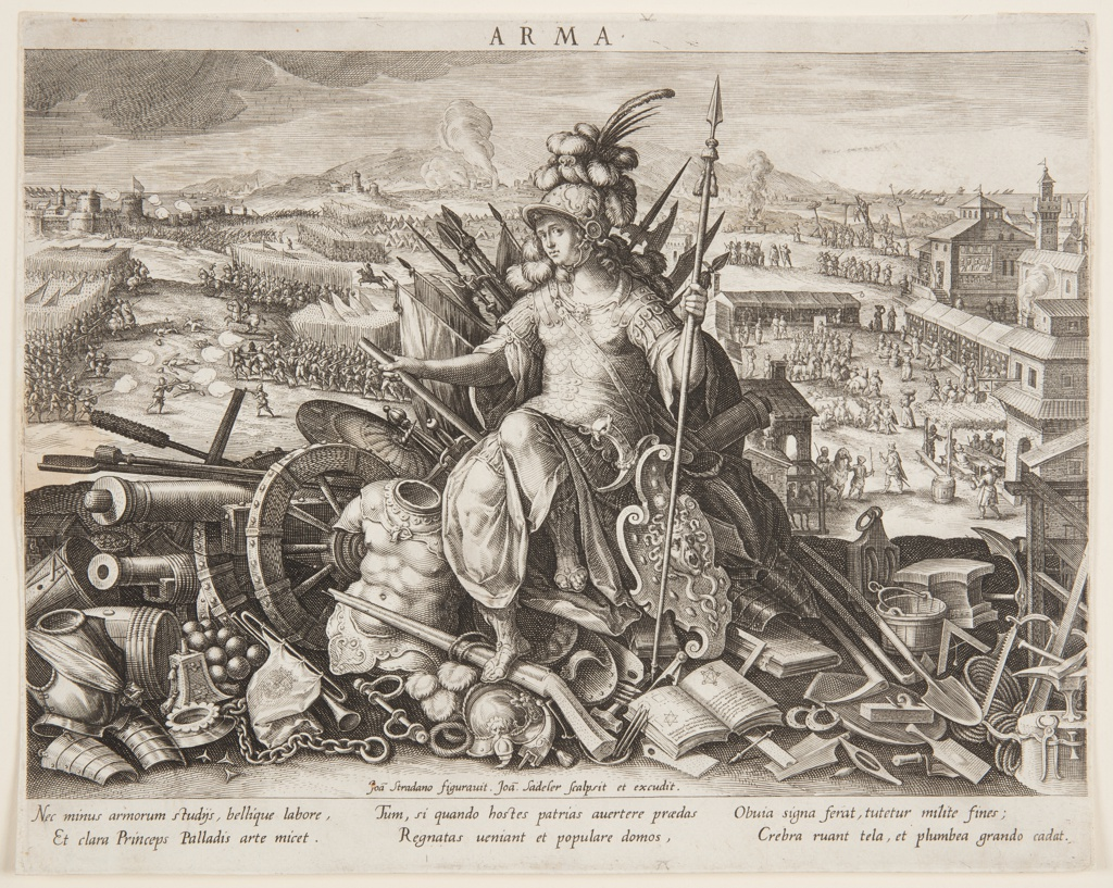 In the foreground, the goddess Minerva, or Pallas Athena, clad in armour with the Medusa shield, is seated on a heap of objects associated with war, including a cannon, and a military treatise and instruments such as a drum and trumpets; to left, two armies engage in pitch battle; to right, behind a town settlement, soldiers supervise a series of executions.