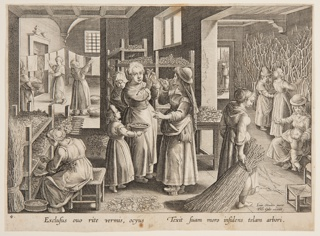 """Horizontal rectangle. At left, a woman is seated before trays of silkworms; center, a group of women, in another room, in background, left, laundering.  Figures in adjoining area, right. At lower right, in plate: """"Ion. Stradan. invent. / Phls. Galle excudit."""" In margin, below: """"EXCLUSUS OUO RITE VERMIS, OCYUS..."""""""