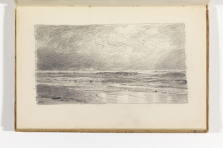 Sketchbook Folio, Seascape with Beach and Sun Breaking through Clouds