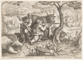 """Horizontal rectangle. Two hunters stalk deer from behind a decoy in the guise of a bull. In margin below: """"SIC BOUE FICTILIO CONTECTI SULPHURIS ICTU ACCENSI OCCIDUNT PAUIDOS FORMIDINE CERUOS. JOHAN. STRA. INVE."""""""