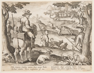 """Horizontal rectangle. Hunters using captive leopards to capture rabbits. Horseman, left, has leopard seated on box behind him, other hunters on horseback, in background, right. Near lower left: """"Ioan. Stradanus invent."""" Near lower right, on a rock: """"Ioan. Collaert Sculp. / Phls. Galle excud."""" Below: """"NON LEPORES CANIBUS..."""""""