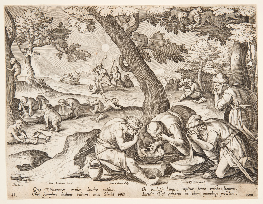 """Horizontal rectangle. In the foreground, right, a group of men, washing their eyes, using the basins. In the middle ground, a number of apes imitates them. At lower left: """"Ioan. Stradanus invent.""""; at left center: """"Ioan. Collaert Sculp.""""; at lower right: """"Phls Galle excud."""" Below: """"QUO VENATORES OCULUS..."""""""