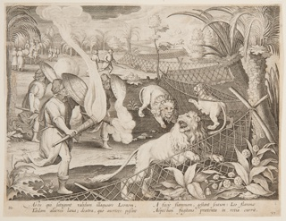 """Horizontal rectangle. The lions, frightened by the lighted torches carried by the hunters, are forced into the string of nets set up to trap them, right. At lower left: """"Ioan. Stradanus invent."""" Right of center, below: """"Ioan. Collaert Sculp.""""; at lower right: """"Phls Galle excud."""" Below: """"AS TU QUI SATAGUNT VALIDUM ILLAGUEARE LEONEM..."""""""