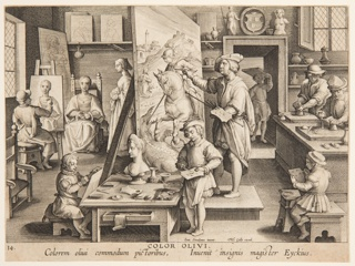 Print, Color Olivi (Invention of Oil Painting), plate 14 in the Nova Reperta (New Inventions of Modern Times)