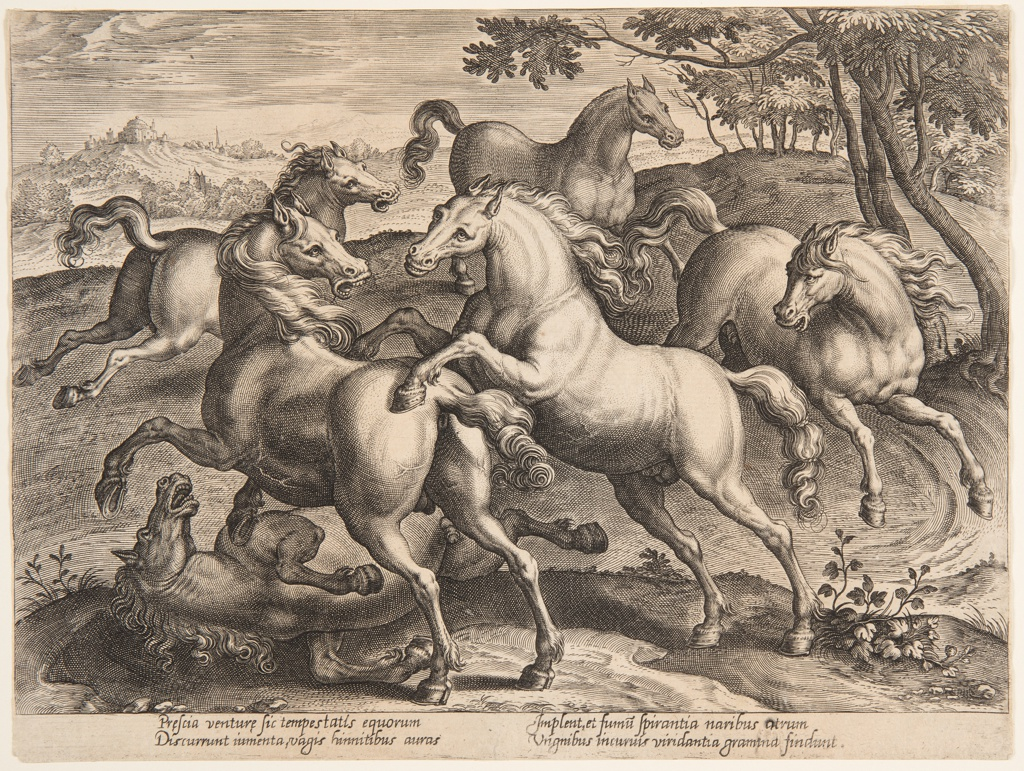 "Two horses fight with each other; a third one lies on the ground. Three are running. Bottom margin, similar -92: ""Prescia venturae sic tempestatis equorum,"" etc."