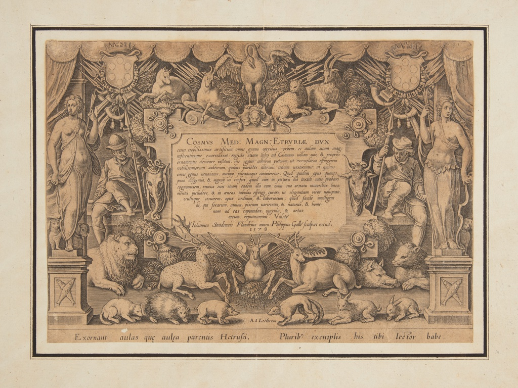 """Print, Dedicatory page of the set """"Mediceae familiae rerum feliciter gestarum Victoria et triumphi"""""""