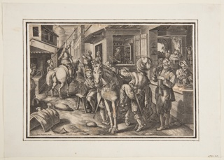 """Stirrups are forged, decorated, sold, and borne away from a busy shop on a narrow street. In the foreground, a man is about to mount his horses. Bottom left: """"Joan Stradanus invent."""" and """"Phls. Galle excud."""" Lower margin has been trimmed, removing inscription."""