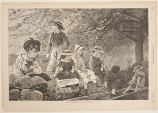 View of children sitting on a stone wall under a blossoming fruit tree. At left, a woman leans on the wall with her left elbow, her chin resting on her hand.