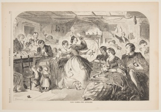Group of figures paring apples.  Woman near fireplace, center, throws an apple peel over her shoulder.
