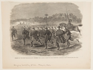 Charge of Union soldiers, seen from the rear. Lower half of the page.