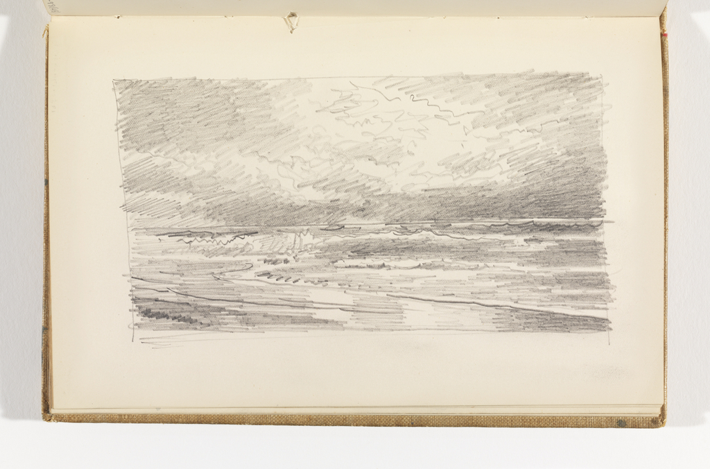 Sketchbook Folio, Beach with Ocean and Cloud-Filled Sky, after 1878