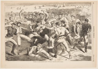 A group of soldiers converging towards the center of the composition. A man, at left, has just kicked the football; another has fallen, in the foreground. Tents and figures in the background.