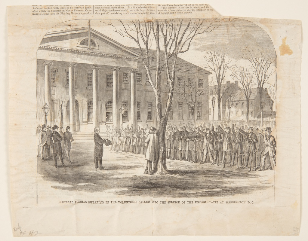 Print General Thomas Swearing In The Volunteers Called Into The Service Of The United States At Washington D C April 27 1861 Objects Collection Of Cooper Hewitt Smithsonian Design Museum