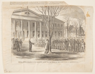 A large group of soldiers stand at right with their right hands raised. The general stands before them, at left. A man leans against a tree in the foreground.