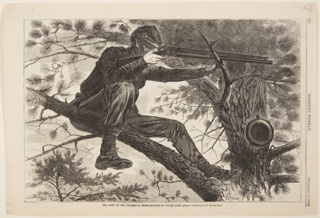 A soldier is seated on the limb of a tree, his rifle raised, ready to fire.