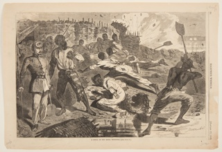 A shell bursts in the trench, in the background. A group of men throw themselves on the ground, while another, at right, raises his shovel. Two men, and an officer, stand at left.