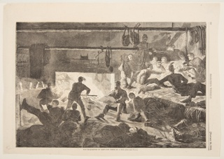 Interior with a large fire burning in the fireplace, illuminating the scene. A group of men are playing cards at right. To the left, others are sleeping or reclining.