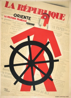 """Against a background of a French newspaper, the title, in red, """"La Republique"""" with the words beneath: """"oriente la politique française modern"""" (guides modern French politics). Below, an angular red figure standing behind a large wheel, as that of a ship."""