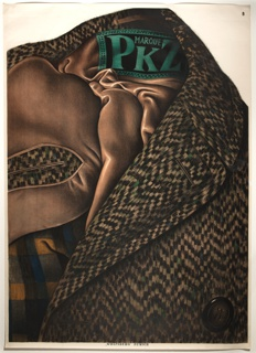 This advertisement poster for the Swiss retailer PKZ depicts a very realistic detail of the collar and lining of an overcoat. The brown satin lining crinkles to show its sheen, and the fibers along the garment are depicted with hyper-realism. The tag inside the collar shows 'Marque PKZ' in green stitching. A button at lower left.