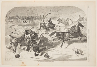 Horizontal composition with upper corners rounded. Snowy scene showing three riders being thrown from a sleigh. Additional horse-drawn sleighs in the background.  A sign in the distance, at left, reads: St. Nicholas.
