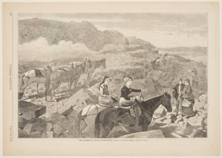 Groups of figures and horses on rocky terrain, on the summit of Mt. Washington.