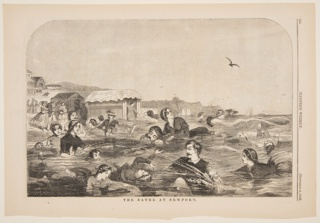 Figures swim in the water in the foreground.  Beach at left in middleground.  In the distance, houses at left, cliffs in center, and ship at right.