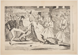 Several couples dancing, doing very high kicking. In the background, a crowd of men wearing top hats.