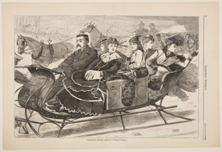 Man driving a sleigh with five women. Some of the ladies look back and wave.