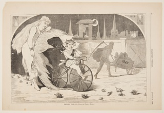 The New Year is represented by a small boy on a tricycle riding through a hoop, held by a woman. At right, Father Time takes the old year away in a wheel barrow.