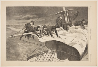 Men taking in the sail of a ship in the snow.