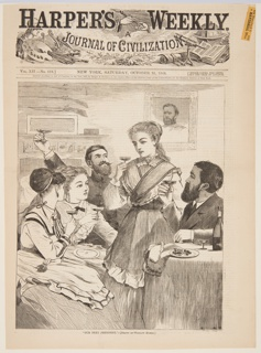 Two men and three women drink a toast to General Ulysses S. Grant.