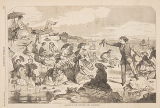 Figures on a crowded beach. One man holding up a live lobster.
