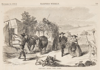 A man and two women coming home with the corn as another man drives the ox-teams. Upper half of the page.