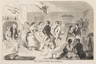 Couples dancing a square dance. Lower half of the page.