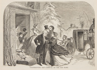 The grandfather and grandmother greeting the daughter and grandchildren at the door. Carriage at right, with snowy landscape in background. Lower half of the page.