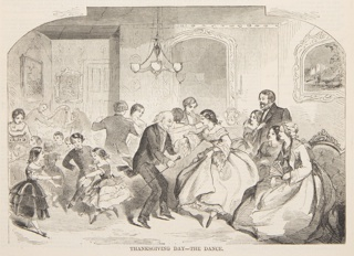 Adults and children dancing in the parlor. Lower half of the page.