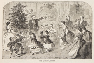 The father handing out presents from the tree, a small horn in his left hand. Lower half of the page.
