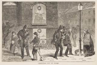 Figures on the street in the snow. Two figures silhouetted under wreath in window, upper center. Lower half of the page.
