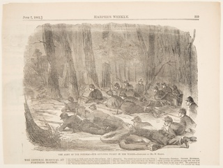 Soldiers lying in the woods with rifles aimed. Upper half of the page.