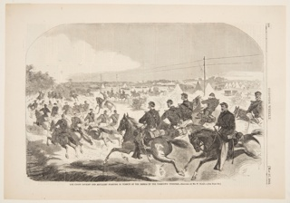 The Union Cavalry, mounted on their horses, charging up a road in pursuit of Confederate troops at Yorktown.