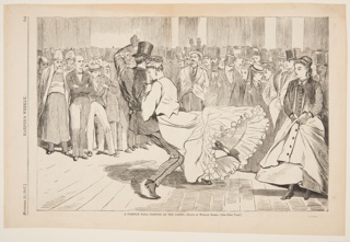 Couples dancing in the center of a dance hall. Large crowd of men with top hats in background.
