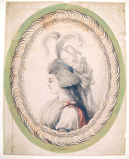 Bust length portrait of a woman, facing left in profile.  She wears an elaborate headdress of ribbons and feathers.  Enclosed in oval calligraphic frame.
